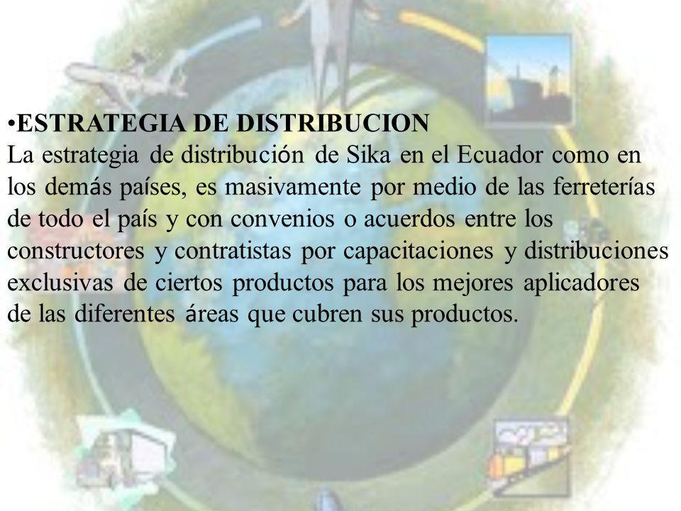 ESTRATEGIA DE DISTRIBUCION La estrategia de distribuci ó n de Sika en el Ecuador como en los dem á s pa í ses, es masivamente por medio de las ferrete