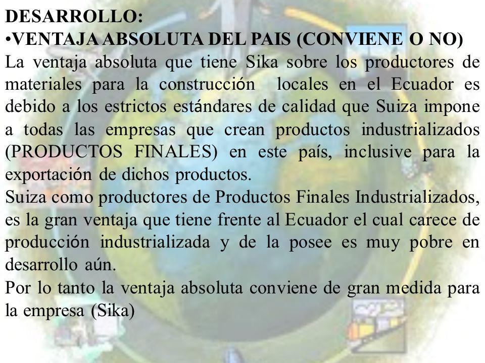DESARROLLO: VENTAJA ABSOLUTA DEL PAIS (CONVIENE O NO) La ventaja absoluta que tiene Sika sobre los productores de materiales para la construcci ó n lo