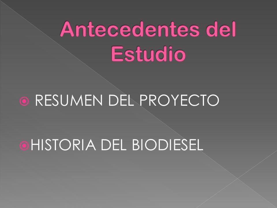 RESUMEN DEL PROYECTO HISTORIA DEL BIODIESEL