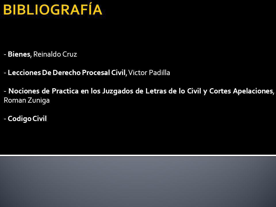 - Bienes, Reinaldo Cruz - Lecciones De Derecho Procesal Civil, Victor Padilla - Nociones de Practica en los Juzgados de Letras de lo Civil y Cortes Ap