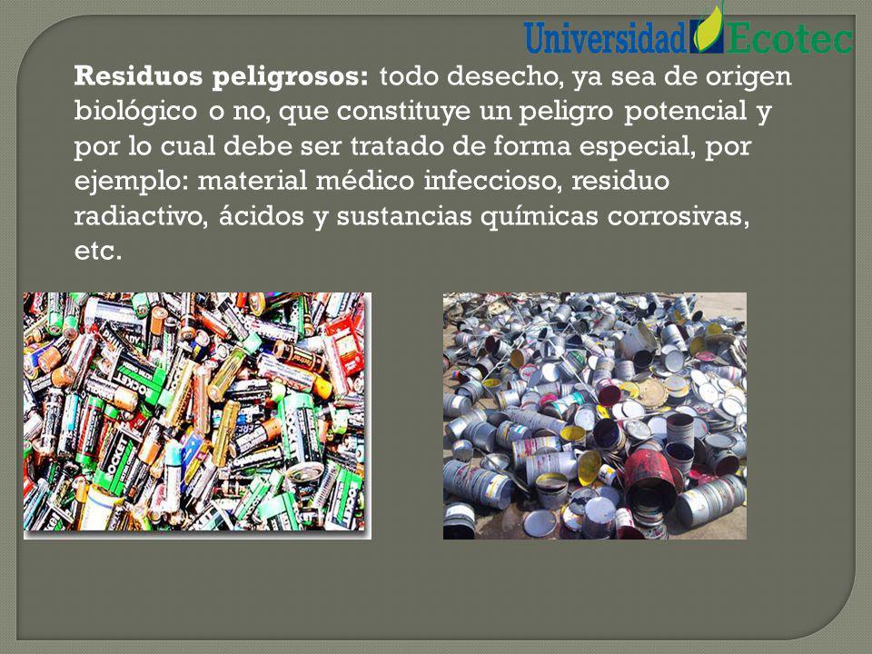 Residuo inorgánico: todo desecho de origen no biológico, de origen industrial o de algún otro proceso no natural, por ejemplo: plástico, telas sintéti