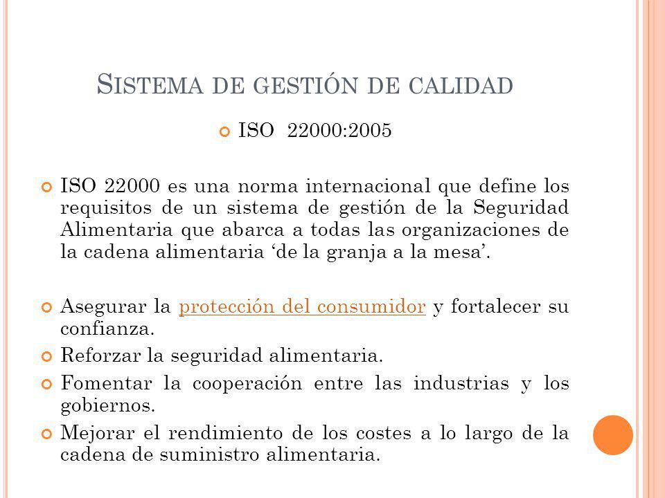 S ISTEMA DE GESTIÓN DE CALIDAD ISO 22000:2005 ISO 22000 es una norma internacional que define los requisitos de un sistema de gestión de la Seguridad Alimentaria que abarca a todas las organizaciones de la cadena alimentaria de la granja a la mesa.
