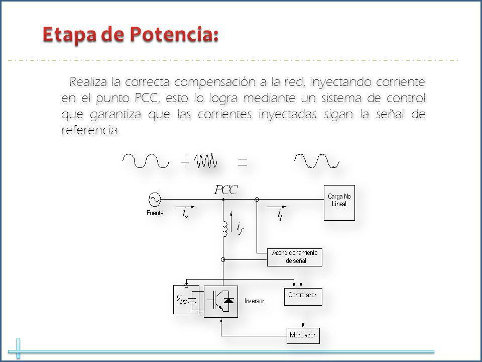 Realiza la correcta compensación a la red, inyectando corriente en el punto PCC, esto lo logra mediante un sistema de control que garantiza que las corrientes inyectadas sigan la señal de referencia.