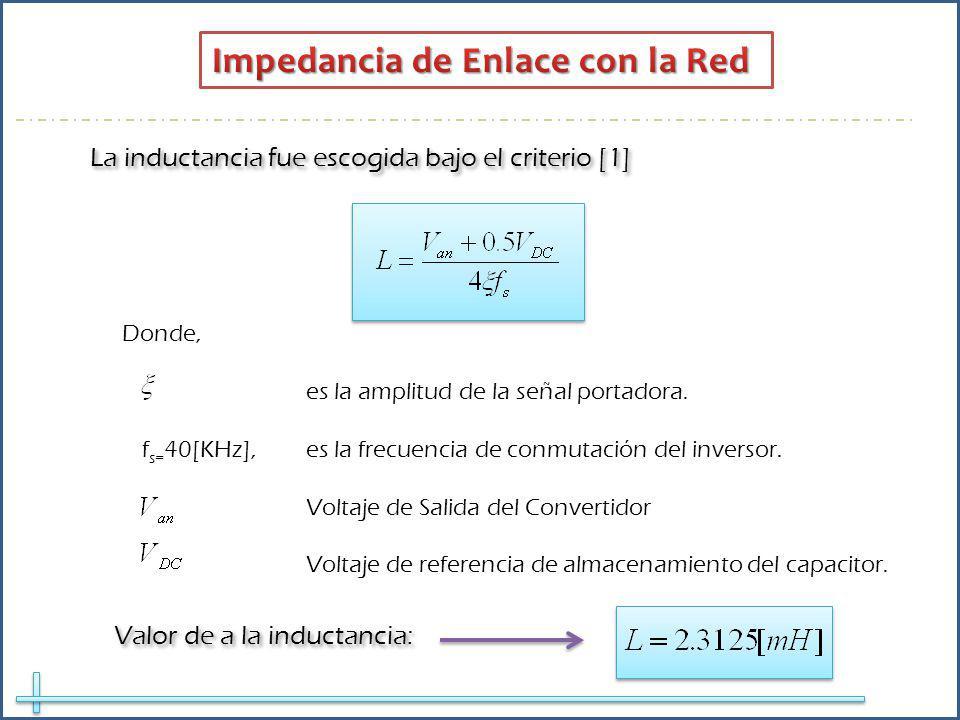 La inductancia fue escogida bajo el criterio [1] Donde, es la amplitud de la señal portadora. f s= 40[KHz], es la frecuencia de conmutación del invers