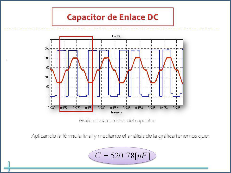 Aplicando la fórmula final y mediante el análisis de la gráfica tenemos que:. Gráfica de la corriente del capacitor.