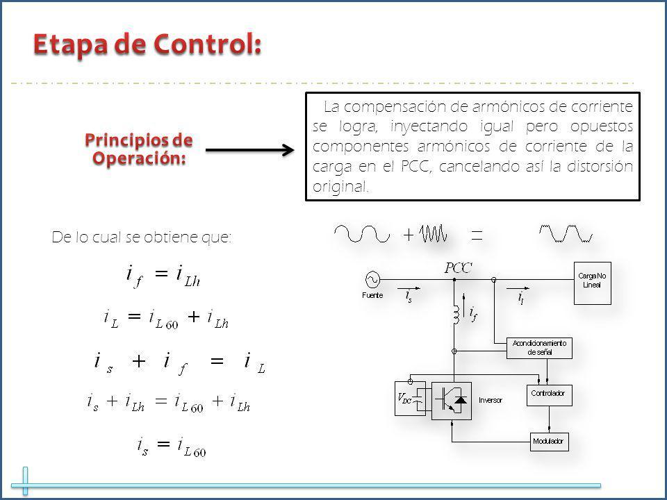 La compensación de armónicos de corriente se logra, inyectando igual pero opuestos componentes armónicos de corriente de la carga en el PCC, cancelando así la distorsión original.