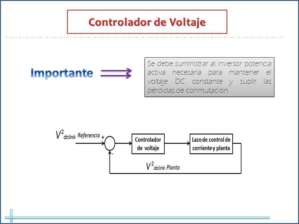Se debe suministrar al inversor potencia activa necesaria para mantener el voltaje DC constante y suplir las pérdidas de conmutación
