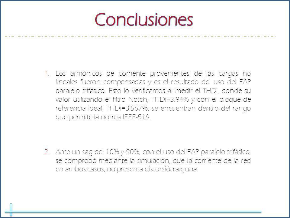 1.Los armónicos de corriente provenientes de las cargas no lineales fueron compensadas y es el resultado del uso del FAP paralelo trifásico.