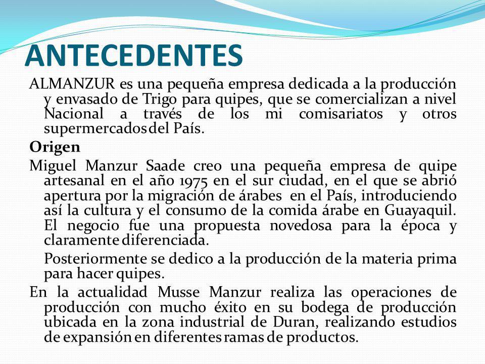ANTECEDENTES ALMANZUR es una pequeña empresa dedicada a la producción y envasado de Trigo para quipes, que se comercializan a nivel Nacional a través