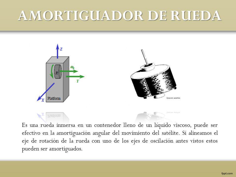 AMORTIGUADOR DE RUEDA Es una rueda inmersa en un contenedor lleno de un líquido viscoso, puede ser efectivo en la amortiguación angular del movimiento del satélite.