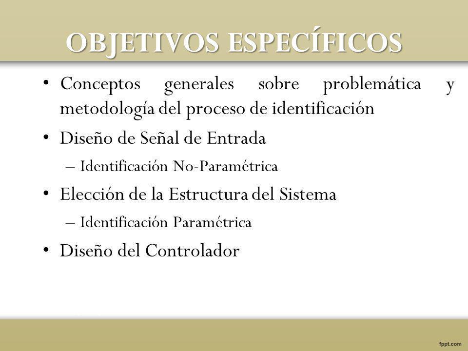OBJETIVOS ESPECÍFICOS Conceptos generales sobre problemática y metodología del proceso de identificación Diseño de Señal de Entrada –Identificación No-Paramétrica Elección de la Estructura del Sistema –Identificación Paramétrica Diseño del Controlador