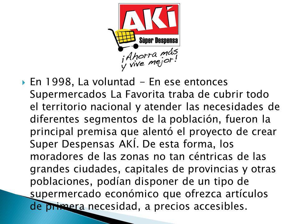 En 1998, La voluntad - En ese entonces Supermercados La Favorita traba de cubrir todo el territorio nacional y atender las necesidades de diferentes s