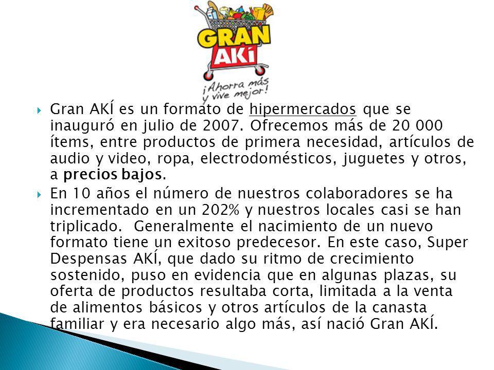Gran AKÍ es un formato de hipermercados que se inauguró en julio de 2007. Ofrecemos más de 20 000 ítems, entre productos de primera necesidad, artícul