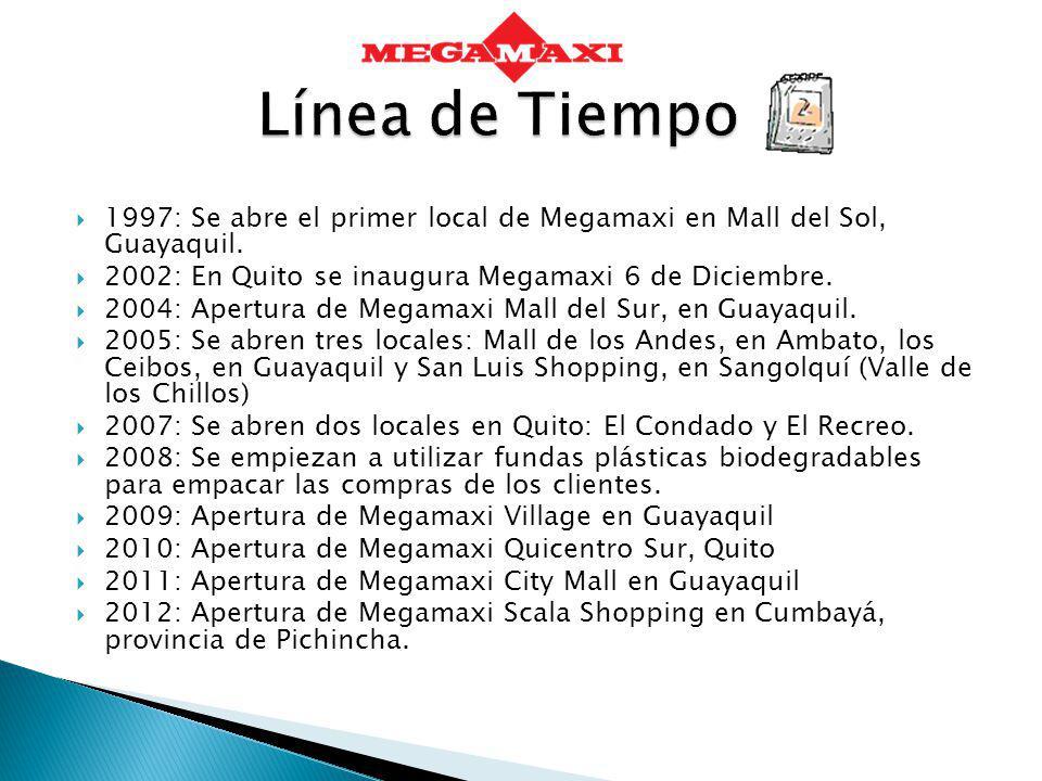 1997: Se abre el primer local de Megamaxi en Mall del Sol, Guayaquil. 2002: En Quito se inaugura Megamaxi 6 de Diciembre. 2004: Apertura de Megamaxi M