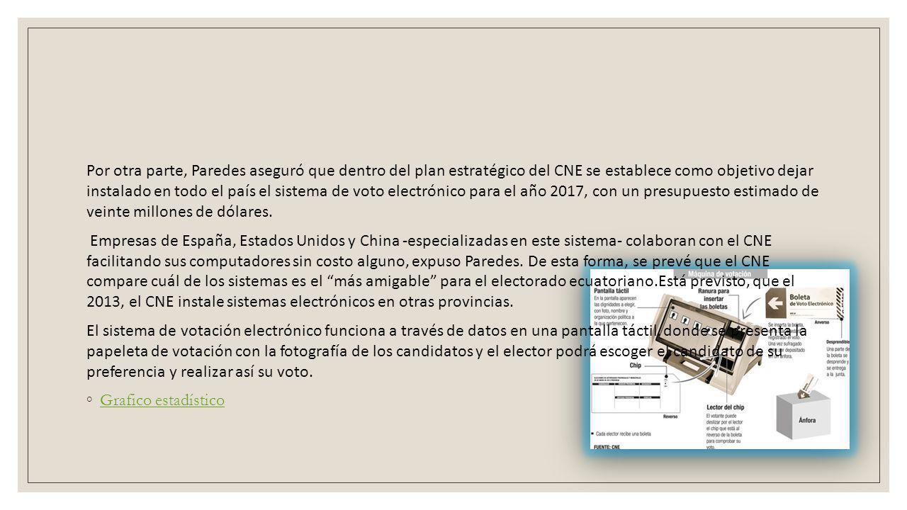 Por otra parte, Paredes aseguró que dentro del plan estratégico del CNE se establece como objetivo dejar instalado en todo el país el sistema de voto electrónico para el año 2017, con un presupuesto estimado de veinte millones de dólares.
