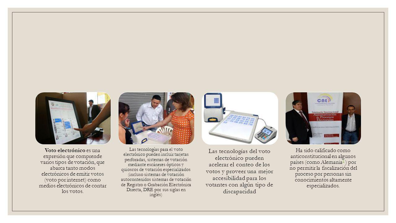 Funcionamiento Escrutinio ResultadoConteo rápido El equipo consta de tres elementos: máquinas de votación, papeletas y ánforas.