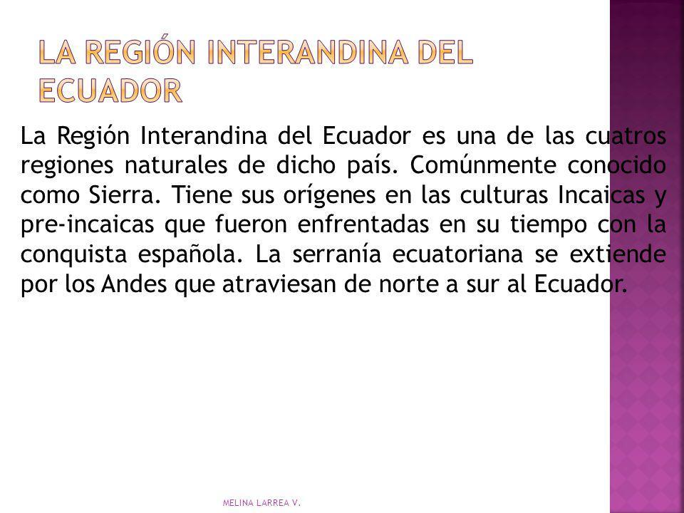 La Región Interandina del Ecuador es una de las cuatros regiones naturales de dicho país. Comúnmente conocido como Sierra. Tiene sus orígenes en las c