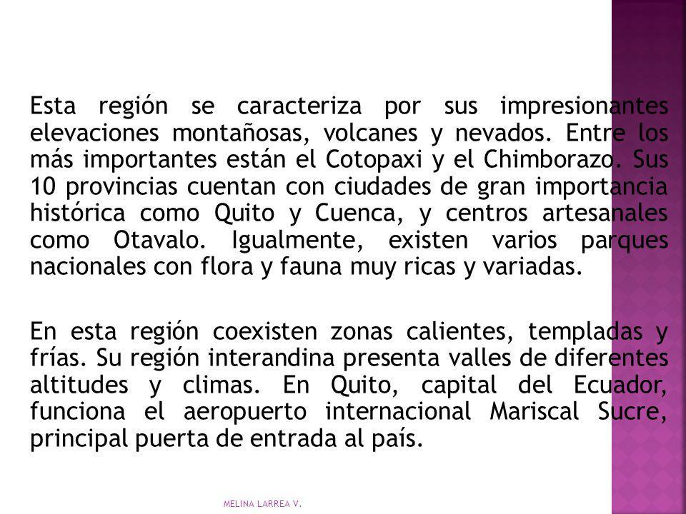 Esta región se caracteriza por sus impresionantes elevaciones montañosas, volcanes y nevados. Entre los más importantes están el Cotopaxi y el Chimbor