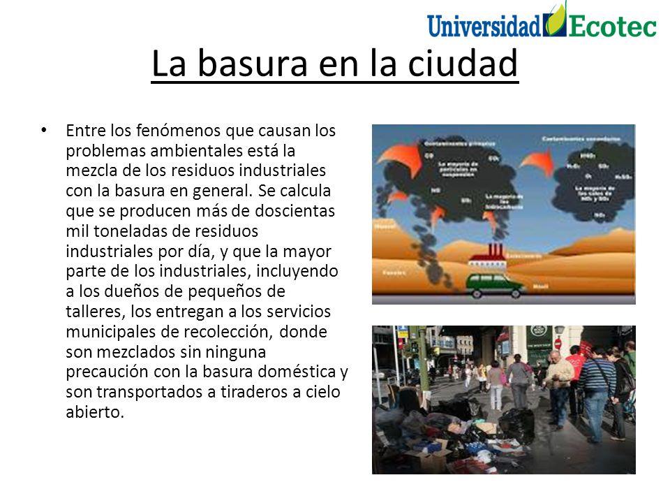 La basura en la ciudad Entre los fenómenos que causan los problemas ambientales está la mezcla de los residuos industriales con la basura en general.