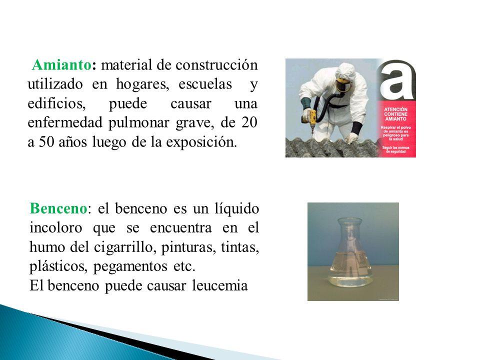 Amianto: material de construcción utilizado en hogares, escuelas y edificios, puede causar una enfermedad pulmonar grave, de 20 a 50 años luego de la