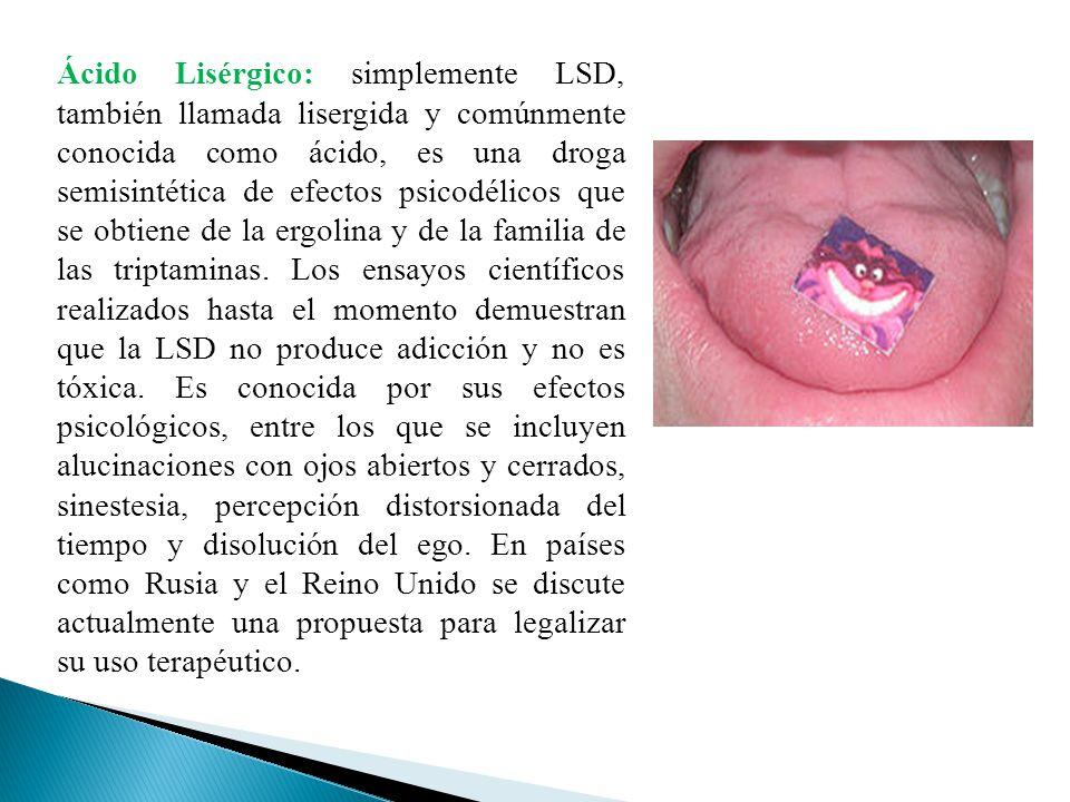 Ácido Lisérgico: simplemente LSD, también llamada lisergida y comúnmente conocida como ácido, es una droga semisintética de efectos psicodélicos que s