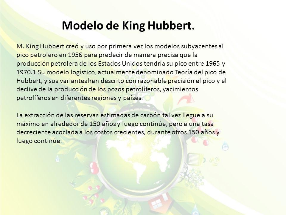 Modelo de King Hubbert. M. King Hubbert creó y uso por primera vez los modelos subyacentes al pico petrolero en 1956 para predecir de manera precisa q