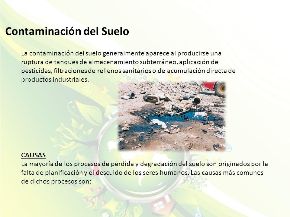 Contaminación del Suelo La contaminación del suelo generalmente aparece al producirse una ruptura de tanques de almacenamiento subterráneo, aplicación