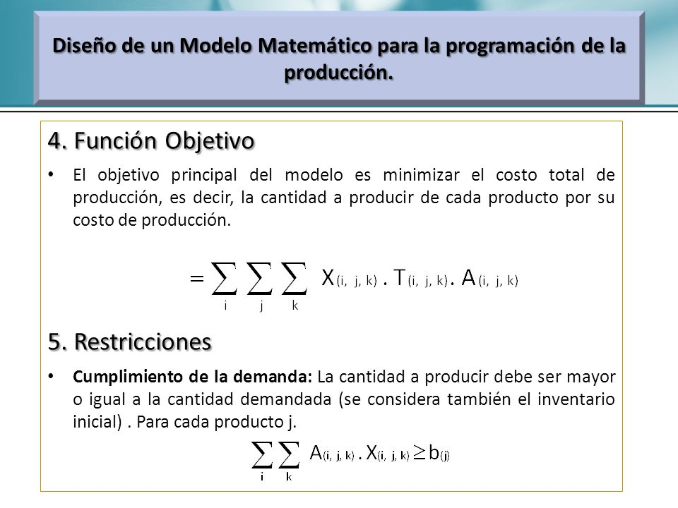 4. Función Objetivo El objetivo principal del modelo es minimizar el costo total de producción, es decir, la cantidad a producir de cada producto por