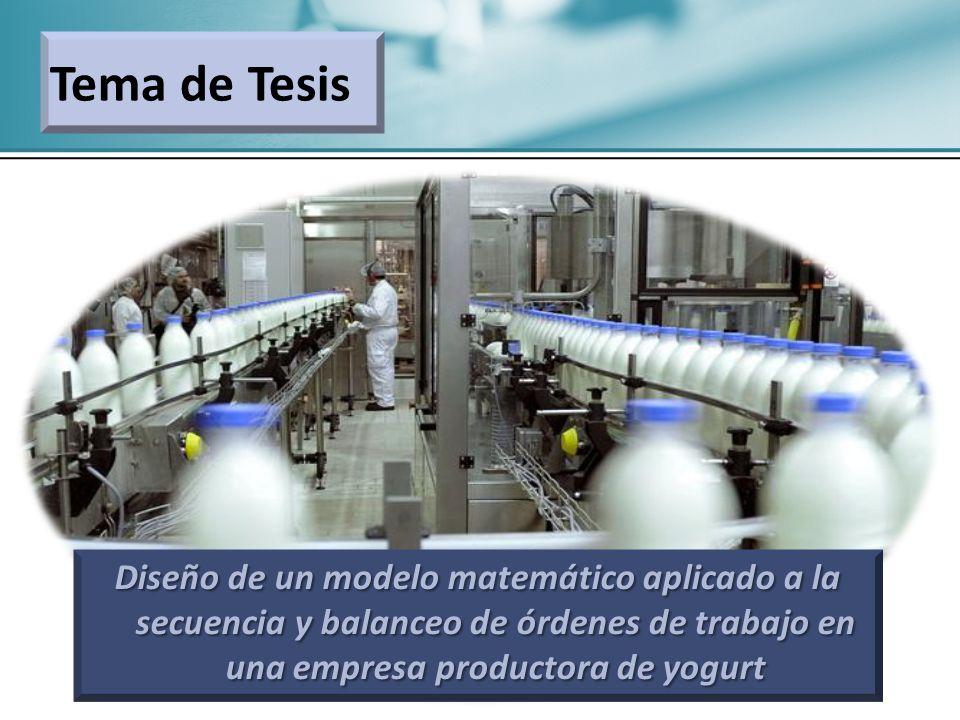 Tema de Tesis Diseño de un modelo matemático aplicado a la secuencia y balanceo de órdenes de trabajo en una empresa productora de yogurt