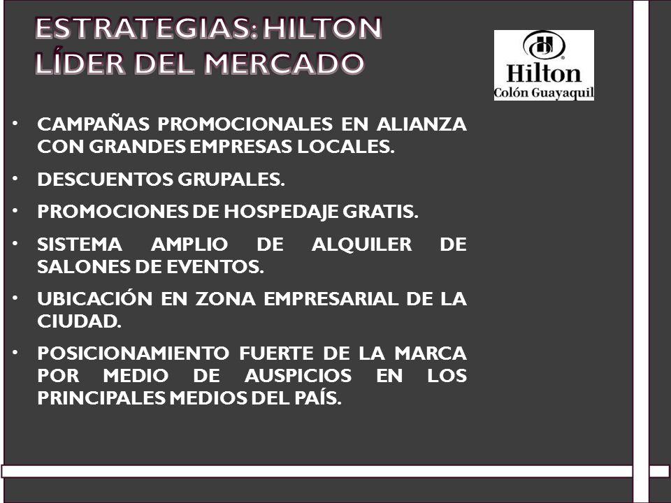 CAMPAÑAS PROMOCIONALES EN ALIANZA CON GRANDES EMPRESAS LOCALES. DESCUENTOS GRUPALES. PROMOCIONES DE HOSPEDAJE GRATIS. SISTEMA AMPLIO DE ALQUILER DE SA