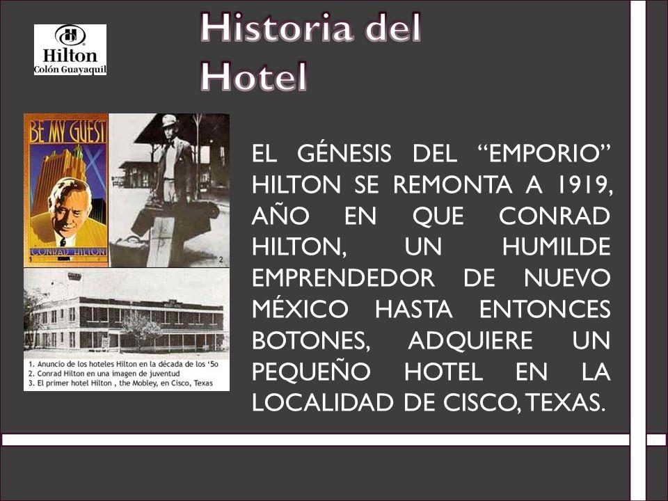 DESPUÉS DE COSECHAR UNA FORTUNA DISCRETA EN UN BREVE ESPACIO DE 11 AÑOS, EN 1930 HILTON ABRE SU PRIMER HOTEL DE ALTO STANDING EN EL PASO, TEXAS, EDIFICIO QUE AÚN HOY DÍA CONTINÚA ALOJANDO VISITANTES PERO BAJO EL NOMBRE DE HOTEL PLAZA.