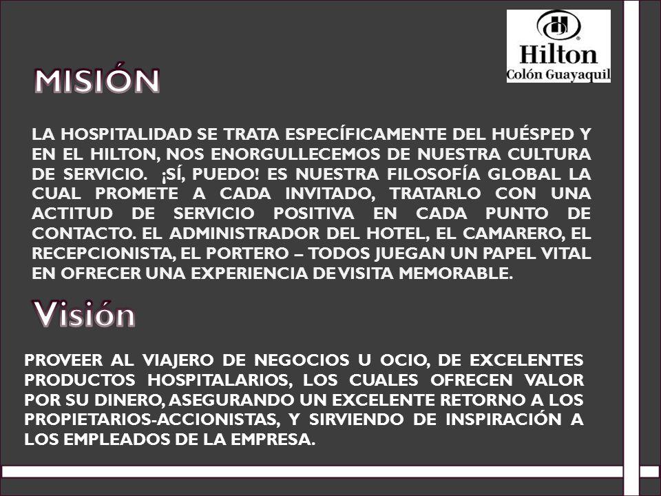 LA HOSPITALIDAD SE TRATA ESPECÍFICAMENTE DEL HUÉSPED Y EN EL HILTON, NOS ENORGULLECEMOS DE NUESTRA CULTURA DE SERVICIO. ¡SÍ, PUEDO! ES NUESTRA FILOSOF