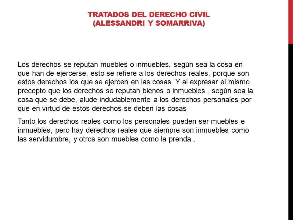TRATADOS DEL DERECHO CIVIL (ALESSANDRI Y SOMARRIVA) Los derechos se reputan muebles o inmuebles, según sea la cosa en que han de ejercerse, esto se re