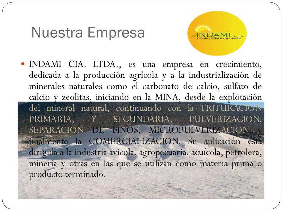 Nuestra Empresa INDAMI CIA. LTDA., es una empresa en crecimiento, dedicada a la producción agrícola y a la industrialización de minerales naturales co