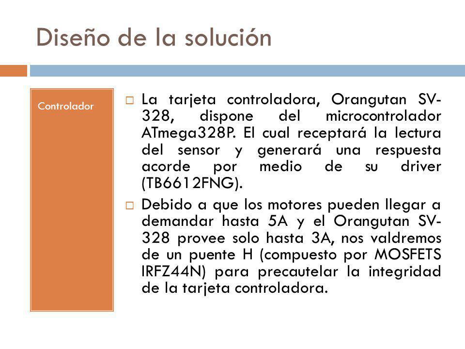Diseño de la solución Controlador La tarjeta controladora, Orangutan SV- 328, dispone del microcontrolador ATmega328P. El cual receptará la lectura de