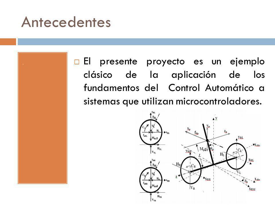 Antecedentes. El presente proyecto es un ejemplo clásico de la aplicación de los fundamentos del Control Automático a sistemas que utilizan microcontr