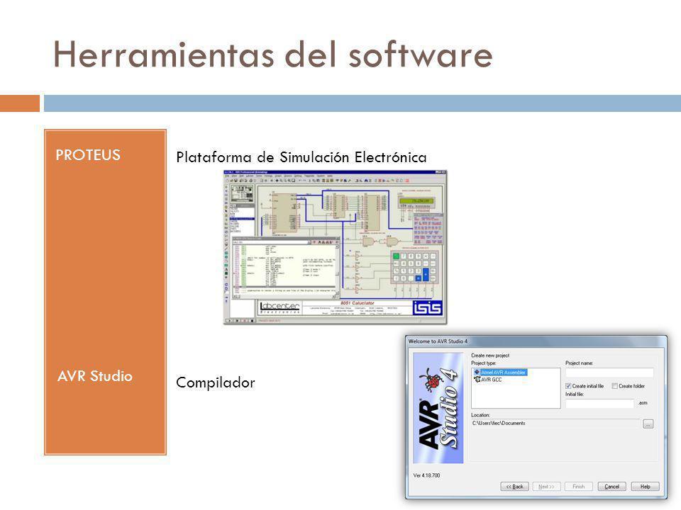 Herramientas del software PROTEUS Plataforma de Simulación Electrónica AVR Studio Compilador