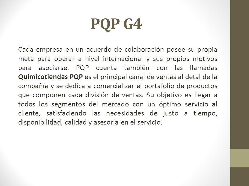 PQP G4 Cada empresa en un acuerdo de colaboración posee su propia meta para operar a nivel internacional y sus propios motivos para asociarse.
