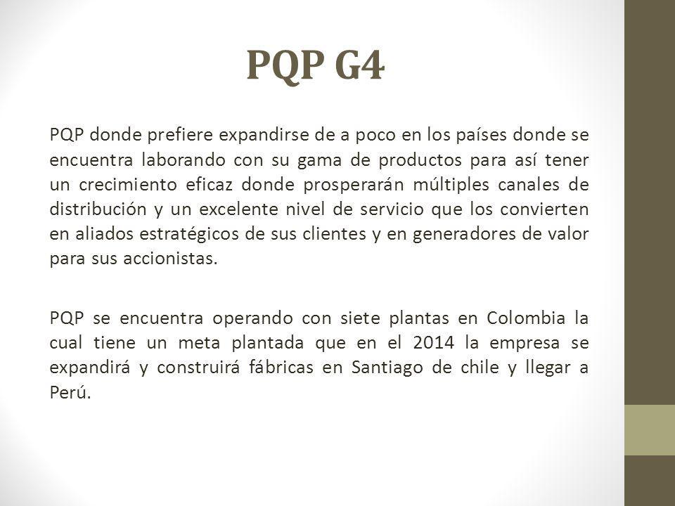 PQP G4 PQP donde prefiere expandirse de a poco en los países donde se encuentra laborando con su gama de productos para así tener un crecimiento efica