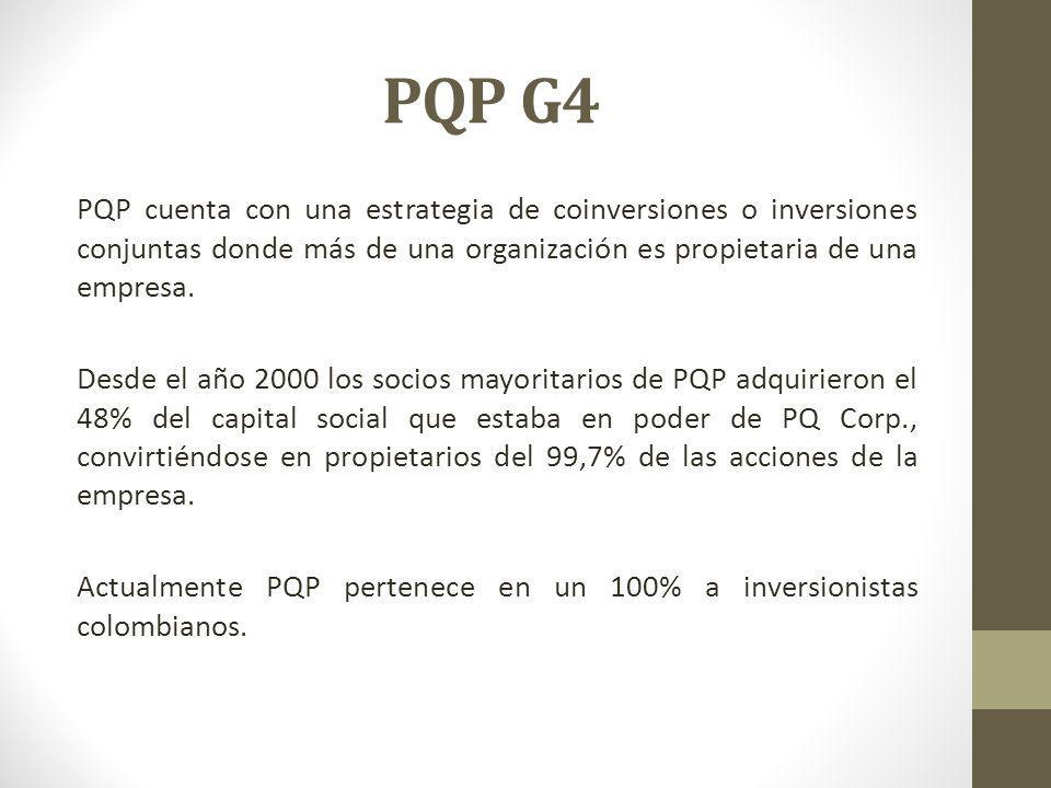 PQP G4 PQP cuenta con una estrategia de coinversiones o inversiones conjuntas donde más de una organización es propietaria de una empresa. Desde el añ