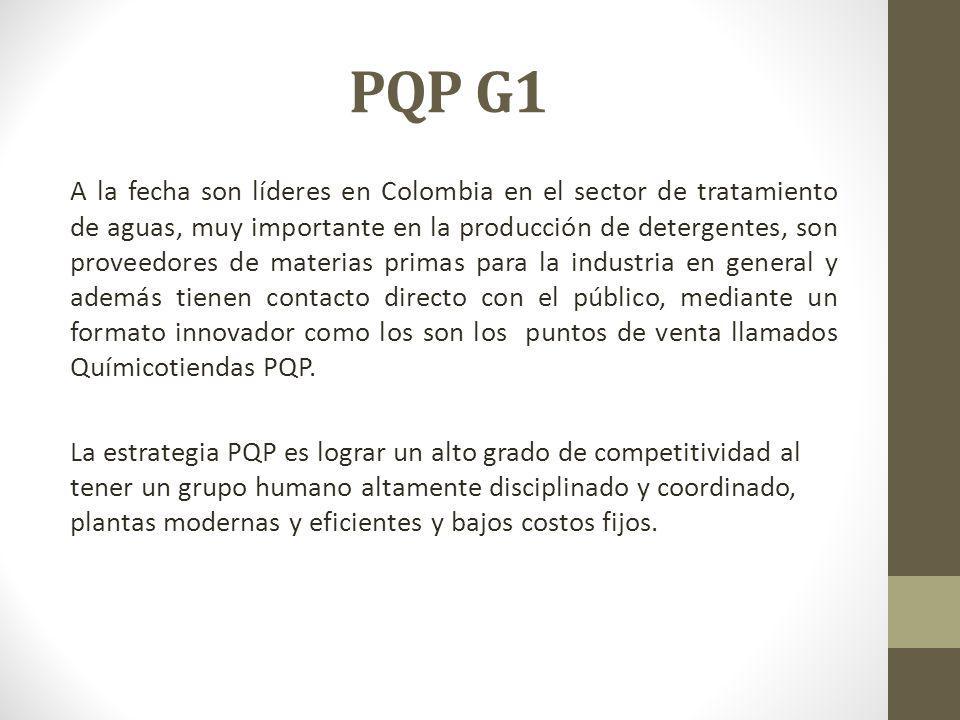 PQP G1 A la fecha son líderes en Colombia en el sector de tratamiento de aguas, muy importante en la producción de detergentes, son proveedores de materias primas para la industria en general y además tienen contacto directo con el público, mediante un formato innovador como los son los puntos de venta llamados Químicotiendas PQP.