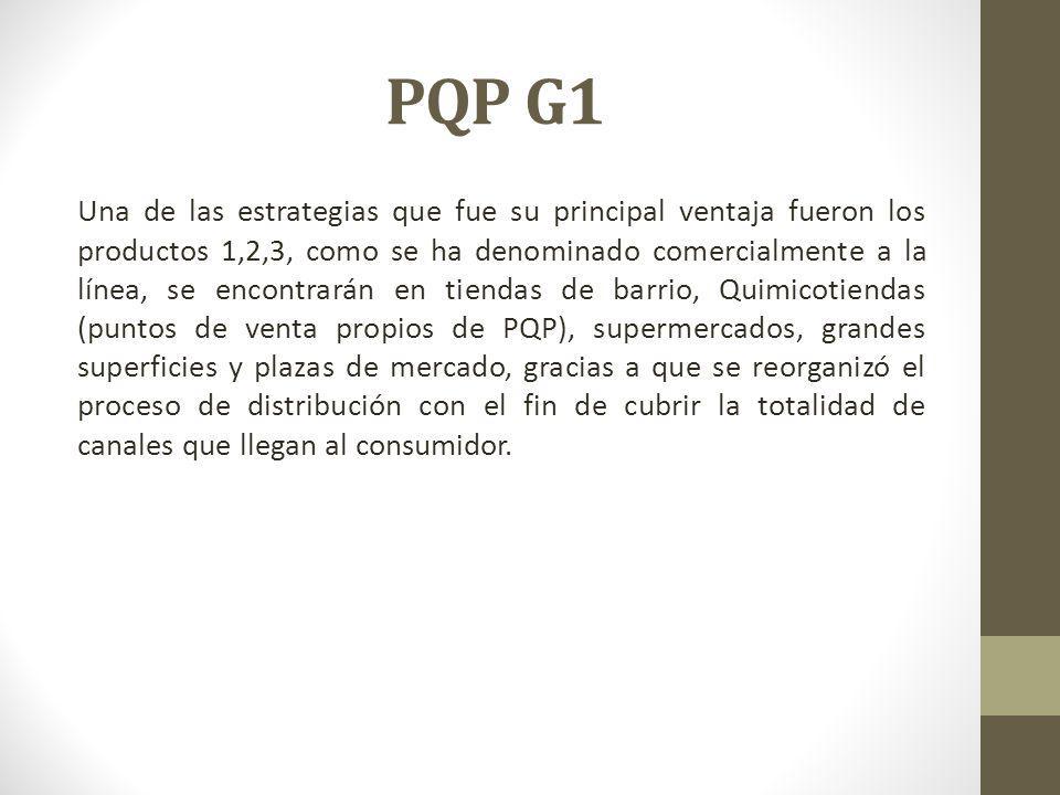 PQP G1 Una de las estrategias que fue su principal ventaja fueron los productos 1,2,3, como se ha denominado comercialmente a la línea, se encontrarán