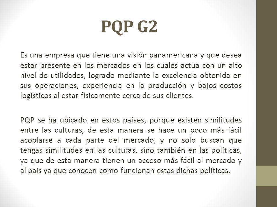 PQP G2 Es una empresa que tiene una visión panamericana y que desea estar presente en los mercados en los cuales actúa con un alto nivel de utilidades