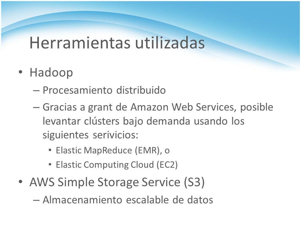 Herramientas utilizadas Hadoop – Procesamiento distribuido – Gracias a grant de Amazon Web Services, posible levantar clústers bajo demanda usando los
