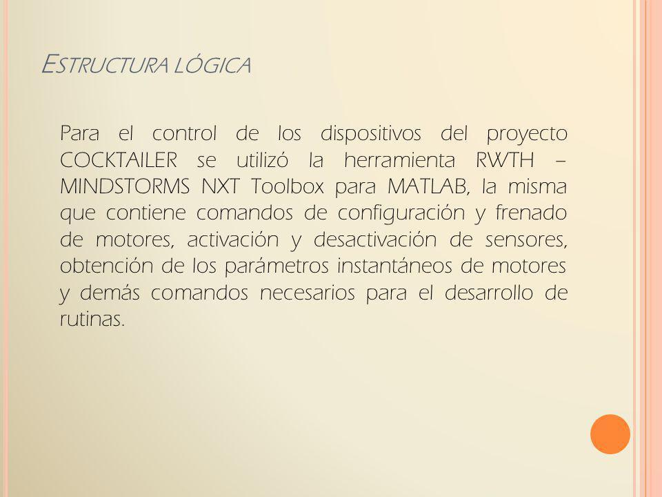 Para el control de los dispositivos del proyecto COCKTAILER se utilizó la herramienta RWTH – MINDSTORMS NXT Toolbox para MATLAB, la misma que contiene