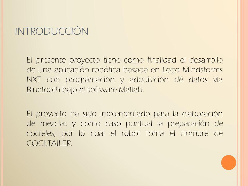 INTRODUCCIÓN El presente proyecto tiene como finalidad el desarrollo de una aplicación robótica basada en Lego Mindstorms NXT con programación y adqui