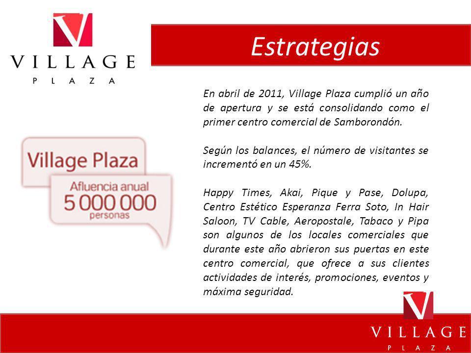 Estrategias En abril de 2011, Village Plaza cumplió un año de apertura y se está consolidando como el primer centro comercial de Samborondón. Según lo