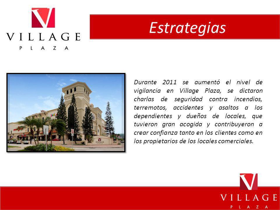 Estrategias Durante 2011 se aumentó el nivel de vigilancia en Village Plaza, se dictaron charlas de seguridad contra incendios, terremotos, accidentes