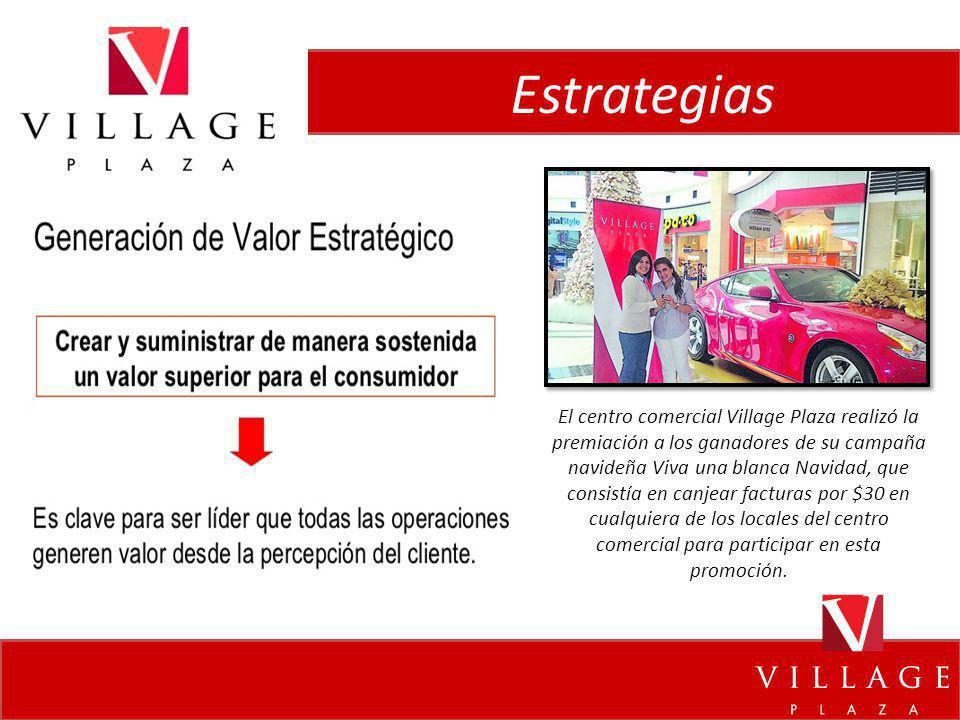 Estrategias El centro comercial Village Plaza realizó la premiación a los ganadores de su campaña navideña Viva una blanca Navidad, que consistía en c