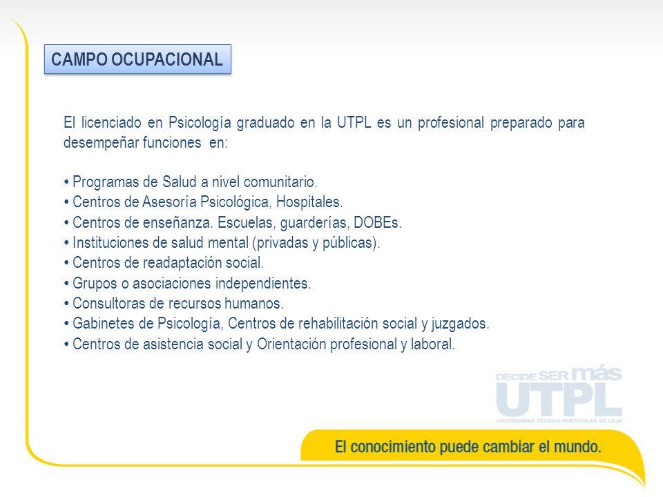 El licenciado en Psicología graduado en la UTPL es un profesional preparado para desempeñar funciones en: Programas de Salud a nivel comunitario.
